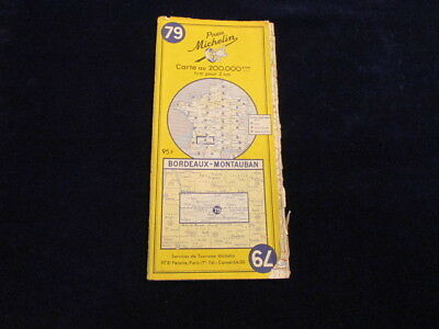 Vintage 1958 Michelin France #79 Bordeaux Montauban Road Map in French