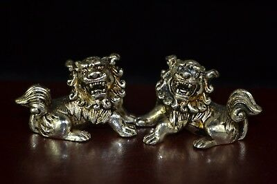 Collectible Chinese Antique handwork Old tibet silver pair lion Rare Statue