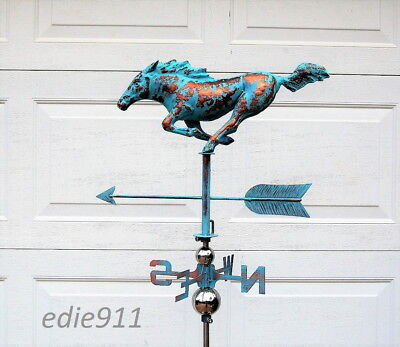 Galloping Racing Horse Weathervane AGED COPPER PATINA Handcrafted 3D FREE MOUNT