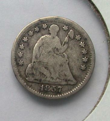 1857 Seated Liberty Half Dime Silver Coin