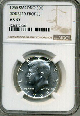 1966 Kennedy Double Die Obv - Doubled Profile NGC SMS 67 * Rare! *