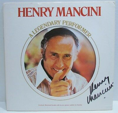 Henry Mancini-A Legendary Performer LP Cover Autographed by Mancini