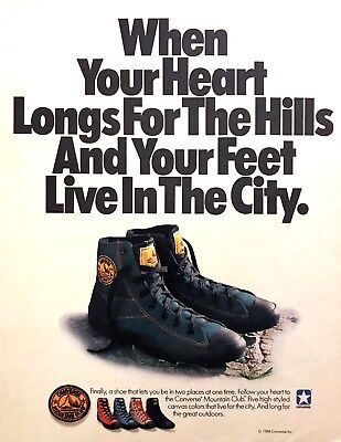 """1988 Converse Mountain Club Canvas Shoes photo """"For The City & Hills"""" print ad"""