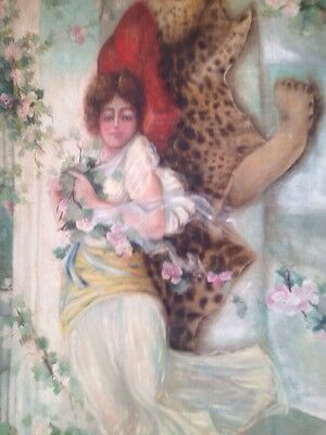 Very Rare 1900.s Antique Large Art Nouveau Gypsy Lady, Lovers on Oil Painting