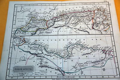 1848 Rare Beautiful Antique Butler  Atlas Map Of North Africa-Handcolored