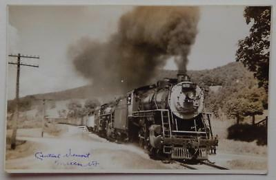 RPPC Photo Postcard Central Vermont Railroad Train Engine #475 Milton Vermont VT