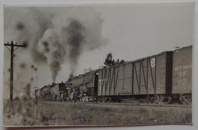 Railroad RPPC Postcard Southern Pacific Engine Steam Train #4104 Redlands Sta CA