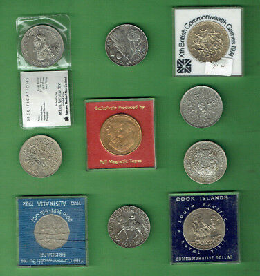 #JJ.    1.  LOT OF TEN (10) DIFFERENT WORLD COINS and/or TOKENS