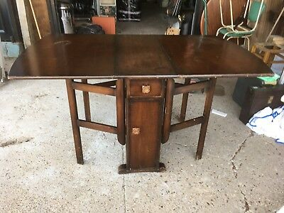 Vintage Antique Solid Wooden Drop Leaf Kitchen Dining Table Cupboard & Drawers