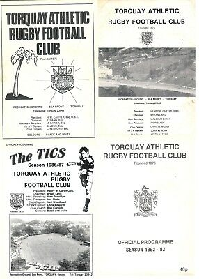 Torquay Rugby Programmes 1982 - 1993
