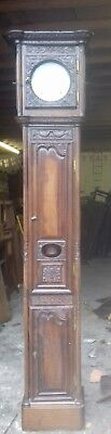 Beautiful Ancient Antique Tall 18Thc French Handcarved Oak Longcase Clock