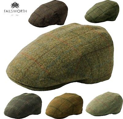 English Tweed Cap Failsworth Hats Merino Wool Country Caps Moon Fabric 54-63cm