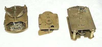 3 x Vintage Clock  Movements, Spares/Repair