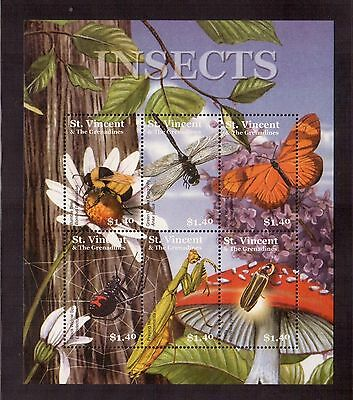 St.vincent & The Grenadines 2001 #3017 S/s Mint Nh, Insects !!