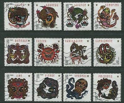 France: Signs Of The Zodiac 2014 - Vfu Set Of Twelve Self-Adhesives (Bl352)