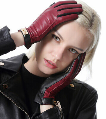 women full touch screen winter warm combined real leather gloves burgundy  black