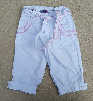 JOHN ROCHA Girls White 3/4 Trousers Cargo Pants 100% Cotton 6 Years