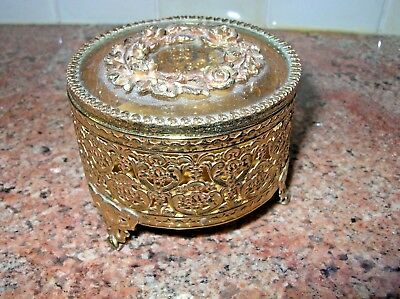 Vintage Ormolu Rolled Gold Tone Metal ane Glass Roses Jewelry Box Footed Round