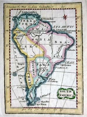 SOUTH AMERICA MINIATURE COPPER ENGRAVED MAP BY TERRY / TURNER  GENUINE  c1792