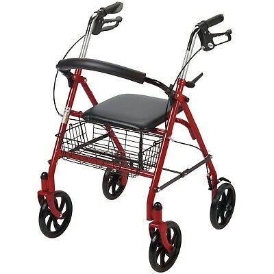Rollator Walker With Seat 4 Wheels Basket Rolling Folding Adult Heavy Duty Red