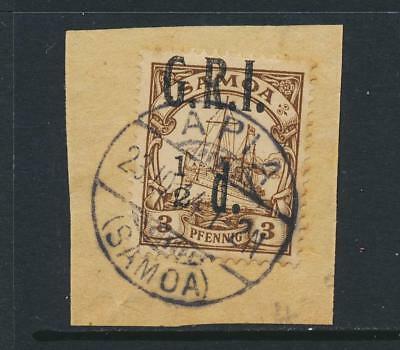 """SAMOA BRITISH OCC 1914, ½d on 3pf """"1 of ½ TO LEFT"""" VFU SG#101d (SEE BELOW)"""