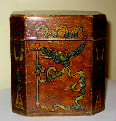 Unusual octagonal painted wooden tea caddy A/F