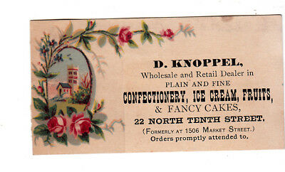 D Knoppel Confectionery Ice Cream Fruits Philadelphia PA Cakes Vict Card c1880s
