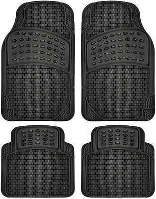 Car Floor Mats for All Weather Rubber 4pc Set Eagle Fit Heavy Duty Black