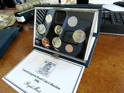 1986 United Kingdom Eight Coin Proof Coin Collection Set With Coa