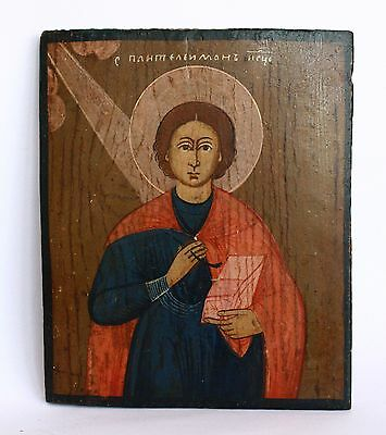 Antique 19th C Russian Orthodox Hand Painted Wood Icon of Saint Pantaleon