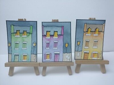 3 Original Watercolour Paintings ACEO - Paris Night