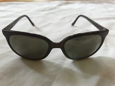 Vintage Bolle Acrylex Cat Eye 396 H Brown Frame Gold Mirror