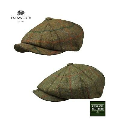 Failsworth Peaky Shelby Cap Newsboy Cap Merino Wool-Shooting Country Green/Brown