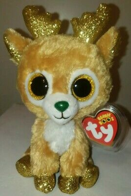 Ty Beanie Boos - GLITZY the Christmas Reindeer (6 Inch) 2018 NEW MWMT ~ IN HAND