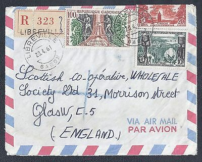 1961 Gabon Registered Air Mail Cover - Libreville to Scotland