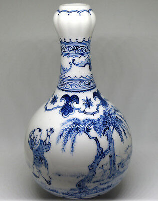 """Chinese Blue and White Porcelain Children Playing Vase 184mm - 7 1/8"""" Tall"""