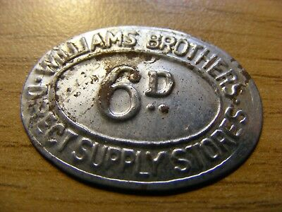 Williams Brothers Sixpence Token - nice condition -  30mm Across