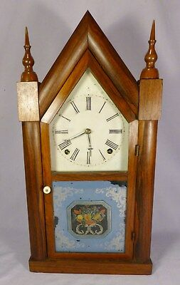 Antique Early J C BROWN 8 Day Steeple Clock-Original Glasses -BEST OFF