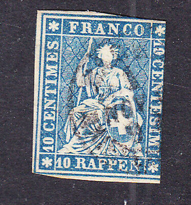 Switzerland postage stamp -1854 10R Blue - Green thread - Used