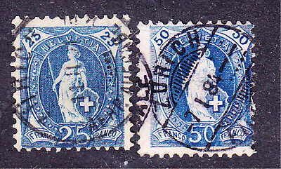 Switzerland postage stamps -1882 Wmk 8 - Perf 11.75 - 2 x Used - Collection odds