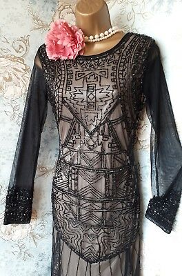 vtg downton Abbey frock & frill black lace bead 20s deco gatsby evening dress 10