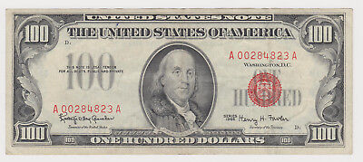$100 One Hundred Dollar Bill 1966 United States Note Red Seal Low Serial Number