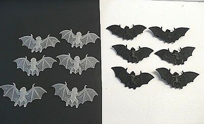 Halloween Decor:  6 Glow Flying Bats   & 6 Black Flying Bats with  suction cups