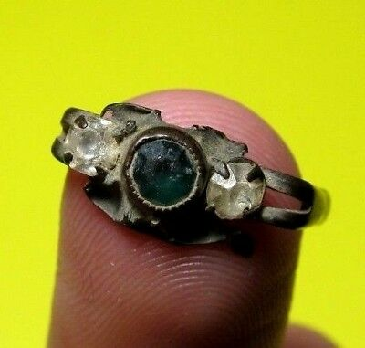 Spanish ancient Medieval Bronze Ring old antique 3 Stone Pirate Times 16-17th. C