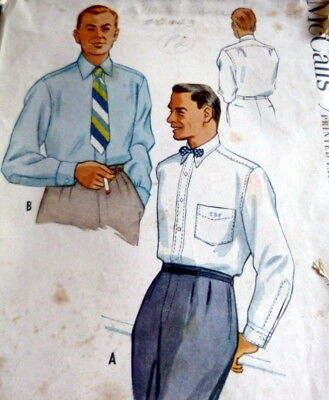 VTG 1950s MENS SHIRT McCALLS Sewing Pattern X LARGE CHEST 48