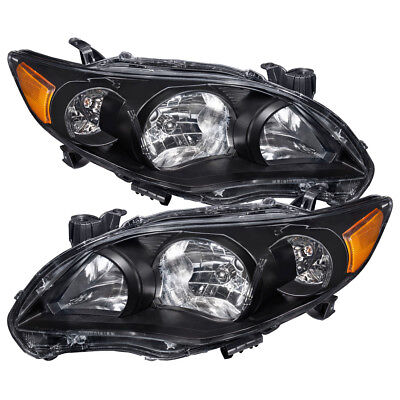 Black Housing Clear Lens Amber Reflector Headlight For 11 12 13 Toyota Corolla