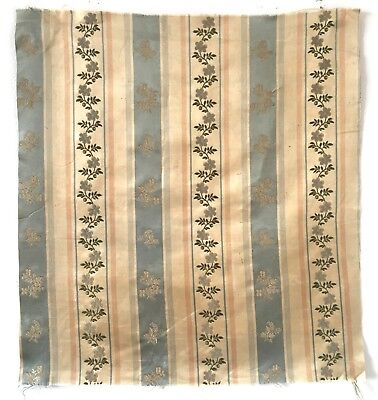 Beautiful 19th Century French Silk Woven Clipped Striped Fabric  - (2472)