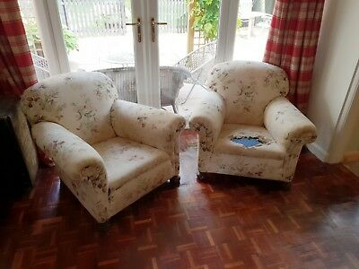 Antique vintage Pair of tub armchairs - club seat arm chairs for re-upholstery