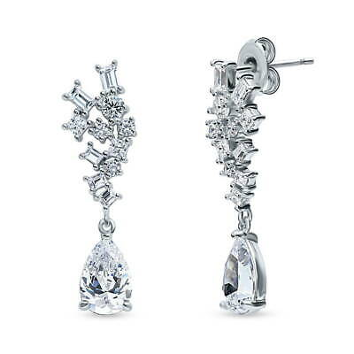 BERRICLE Sterling Silver Cubic Zirconia CZ Cluster Wedding Dangle Drop Earrings