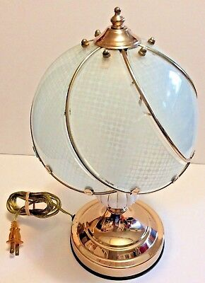 Vintage Glass Shade Etched Lamp with Brass Colored Bass Desk Or Nightstand Lamp